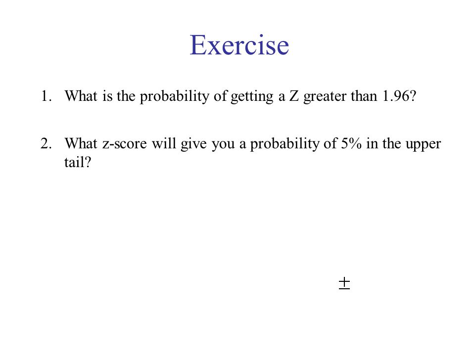 Exercise What is the probability of getting a Z greater than 1.96