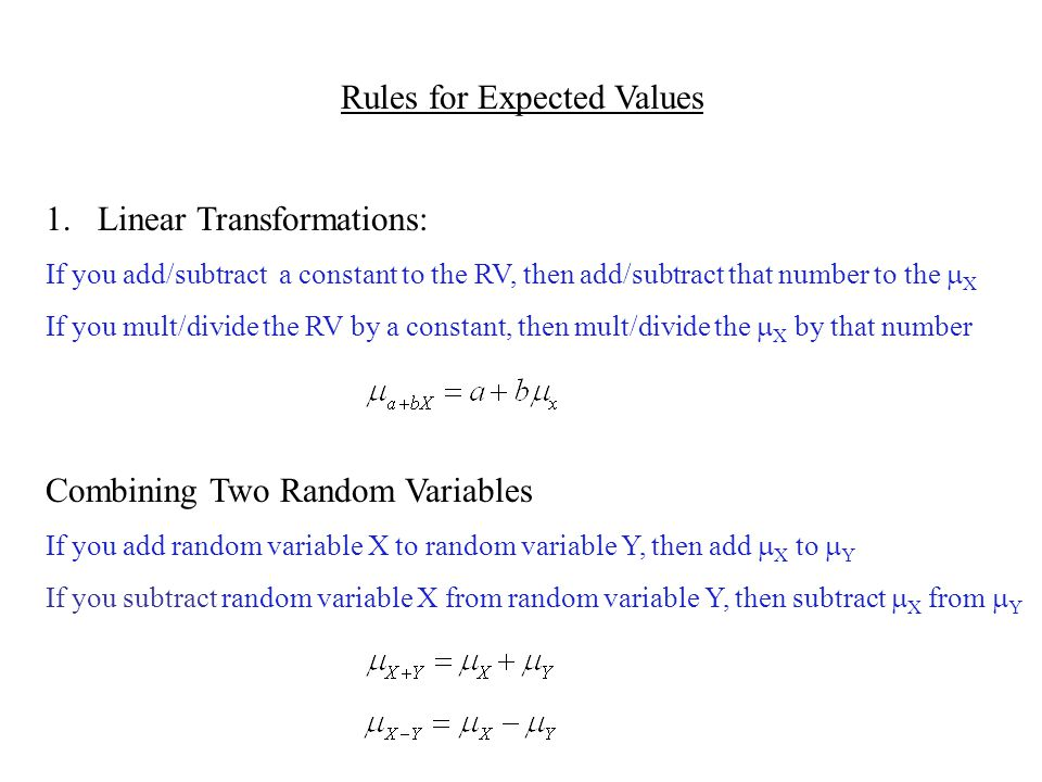 Rules for Expected Values