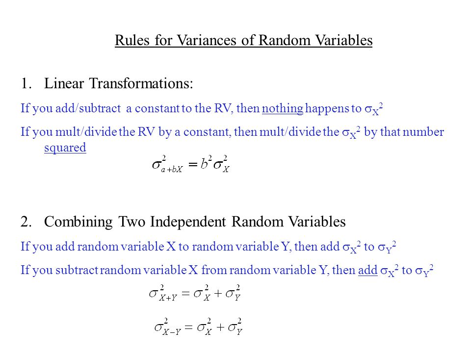 Rules for Variances of Random Variables