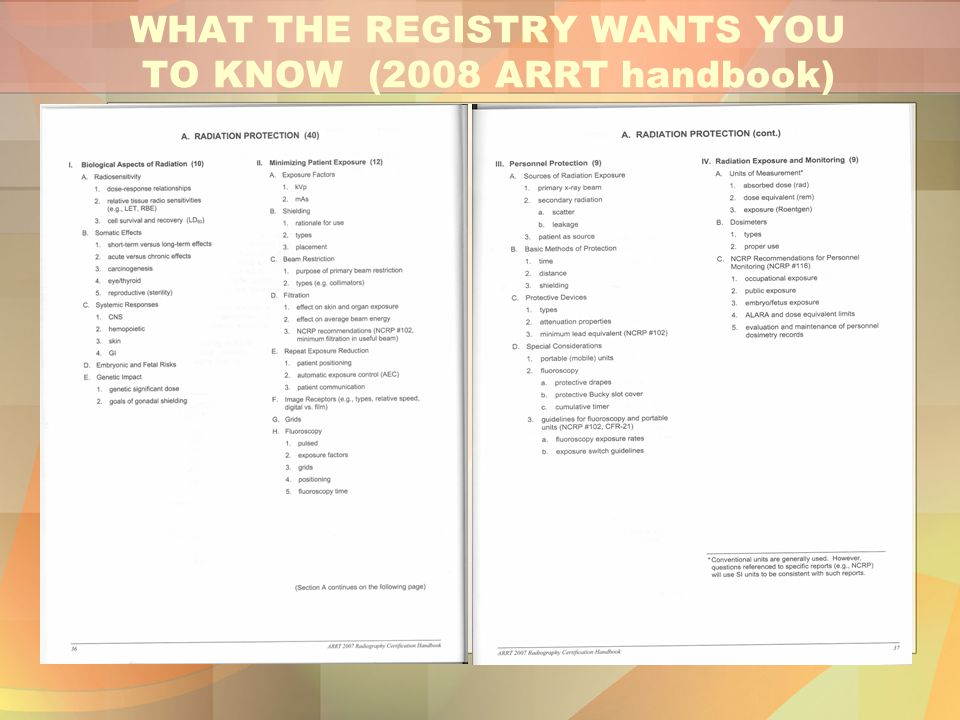 WHAT THE REGISTRY WANTS YOU TO KNOW (2008 ARRT handbook)