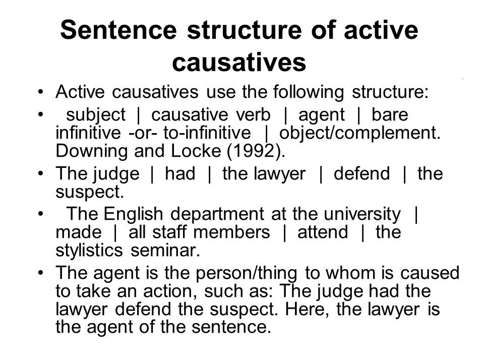 Sentence structure of active causatives