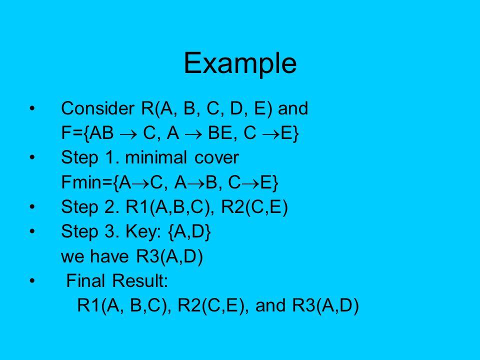Example Consider R(A, B, C, D, E) and F={AB  C, A  BE, C E}