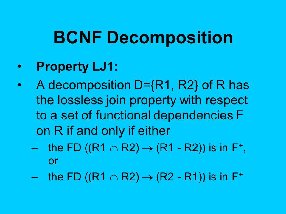 BCNF Decomposition Property LJ1: