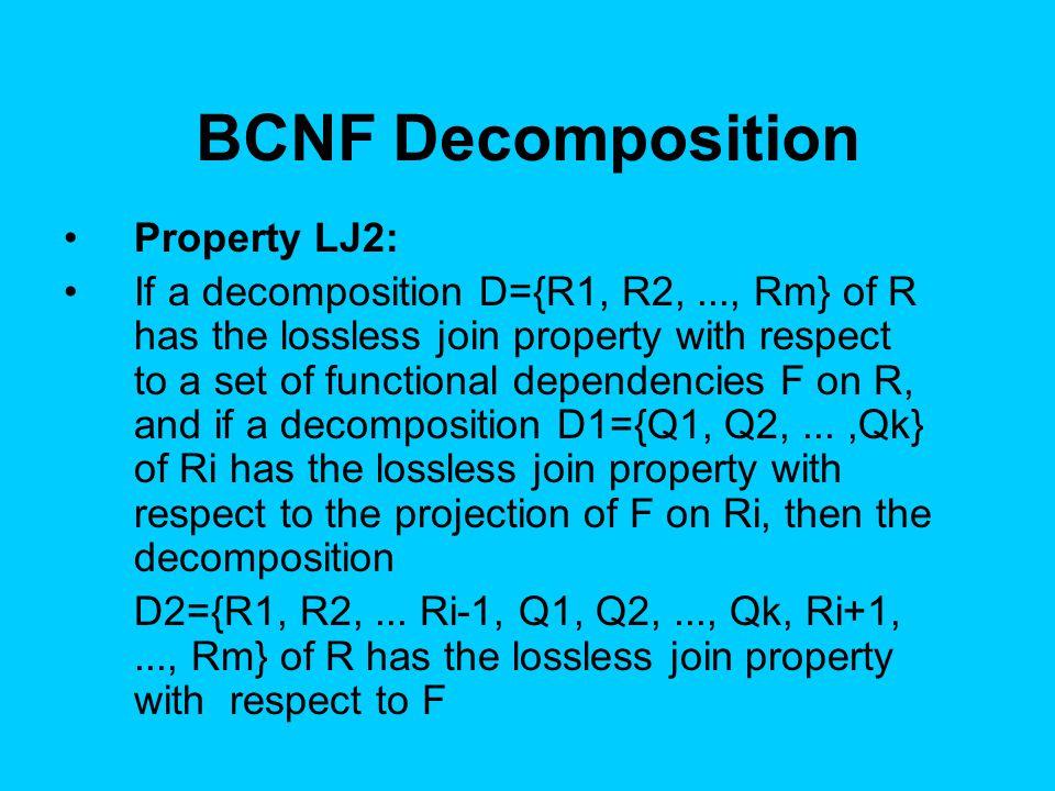 BCNF Decomposition Property LJ2: