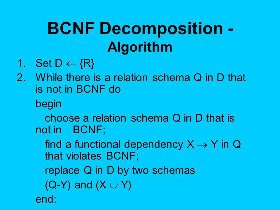 BCNF Decomposition - Algorithm