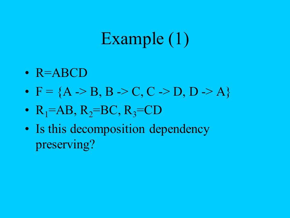 Example (1) R=ABCD F = {A -> B, B -> C, C -> D, D -> A}