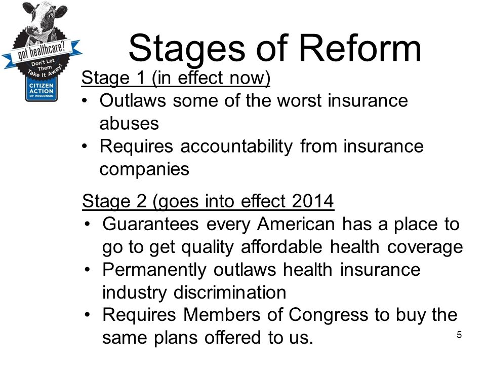 Stages of Reform Stage 1 (in effect now)