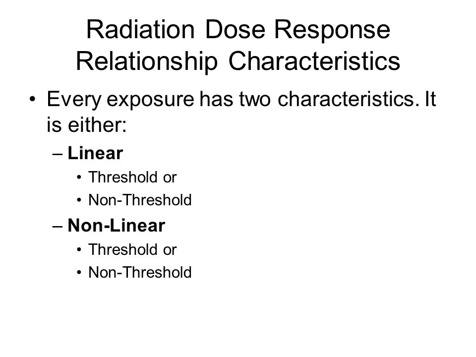 Radiation Dose Response Relationship Characteristics