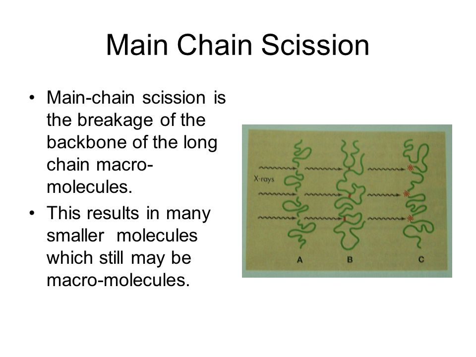 Main Chain Scission Main-chain scission is the breakage of the backbone of the long chain macro-molecules.