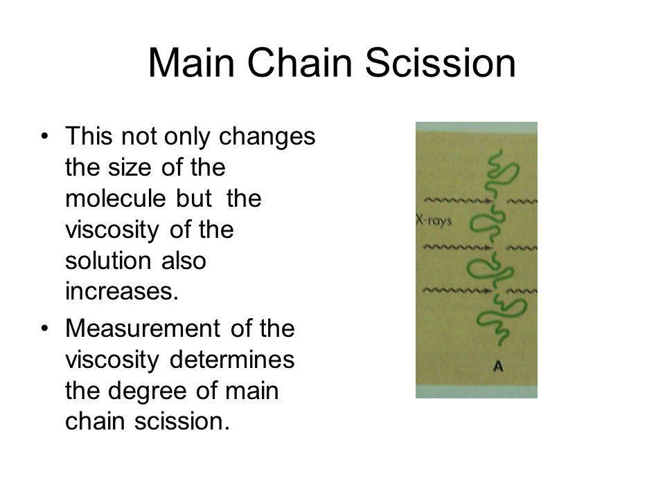 Main Chain Scission This not only changes the size of the molecule but the viscosity of the solution also increases.