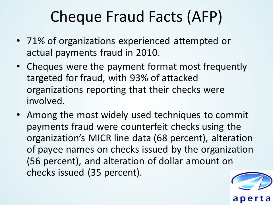 Cheque Fraud Facts (AFP)