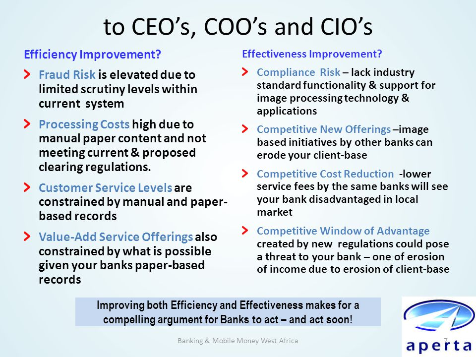 to CEO's, COO's and CIO's