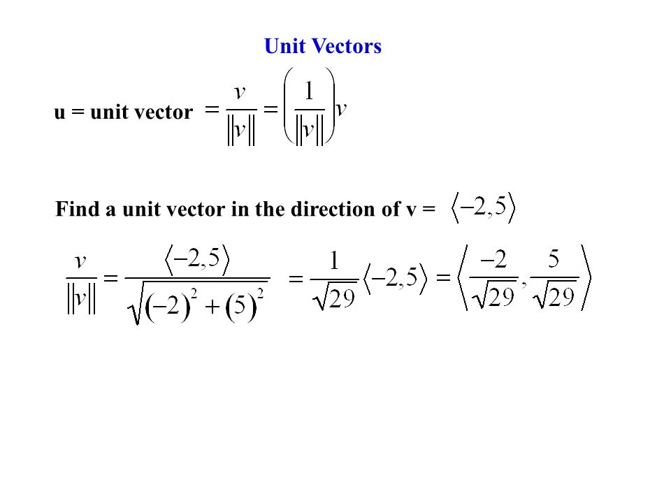 Unit Vectors u = unit vector Find a unit vector in the direction of v =