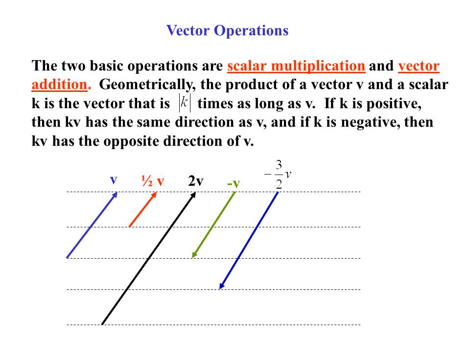Vector Operations The two basic operations are scalar multiplication and vector. addition. Geometrically, the product of a vector v and a scalar.