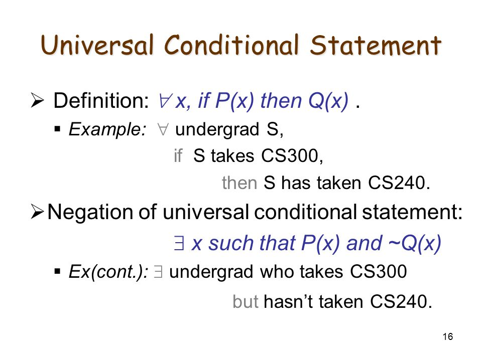 Universal Conditional Statement