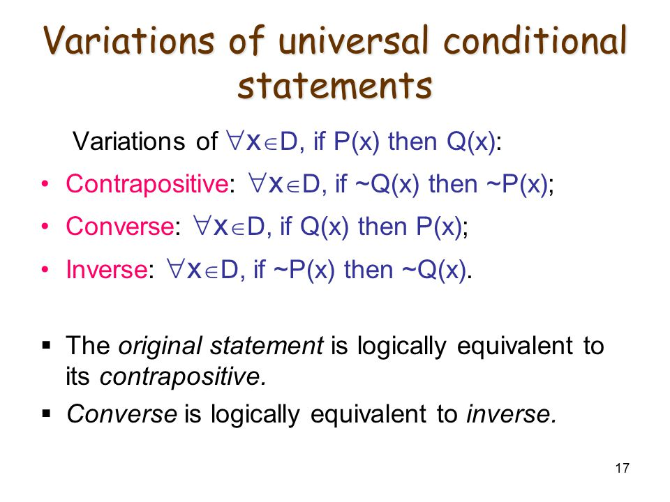 Variations of universal conditional statements