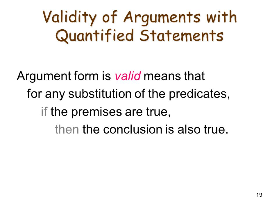 Validity of Arguments with Quantified Statements