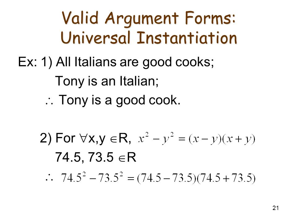 Valid Argument Forms: Universal Instantiation