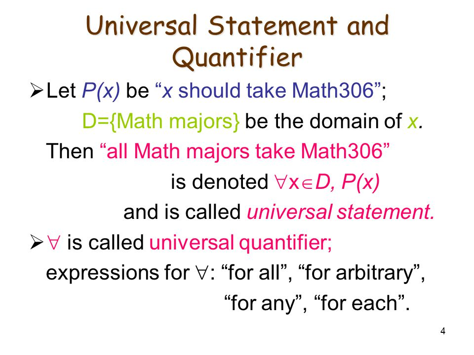 Universal Statement and Quantifier