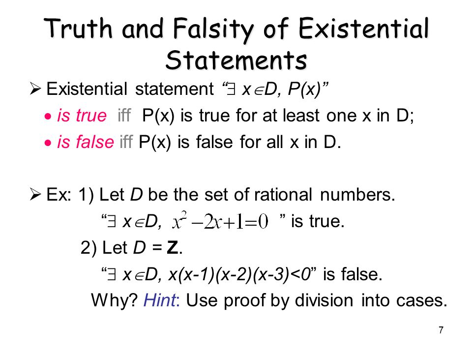 Truth and Falsity of Existential Statements