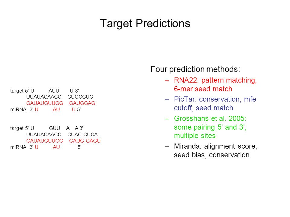 Target Predictions Four prediction methods: