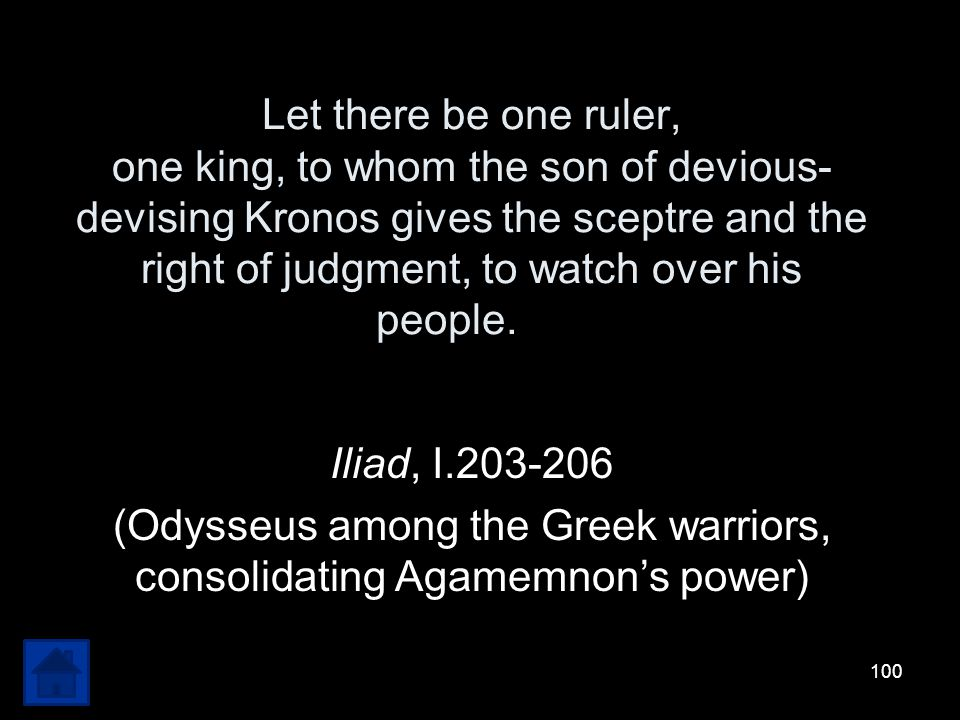 (Odysseus among the Greek warriors, consolidating Agamemnon's power)