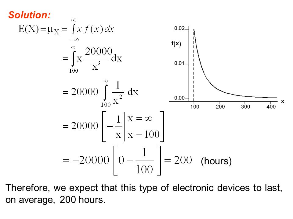 Solution: (hours) Therefore, we expect that this type of electronic devices to last, on average, 200 hours.