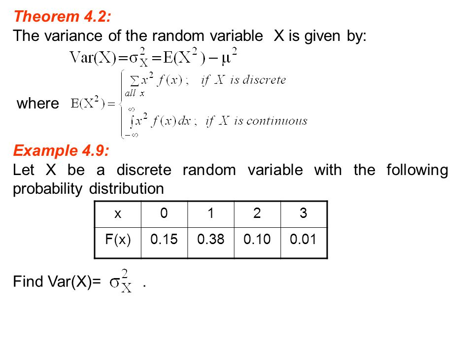 The variance of the random variable X is given by: