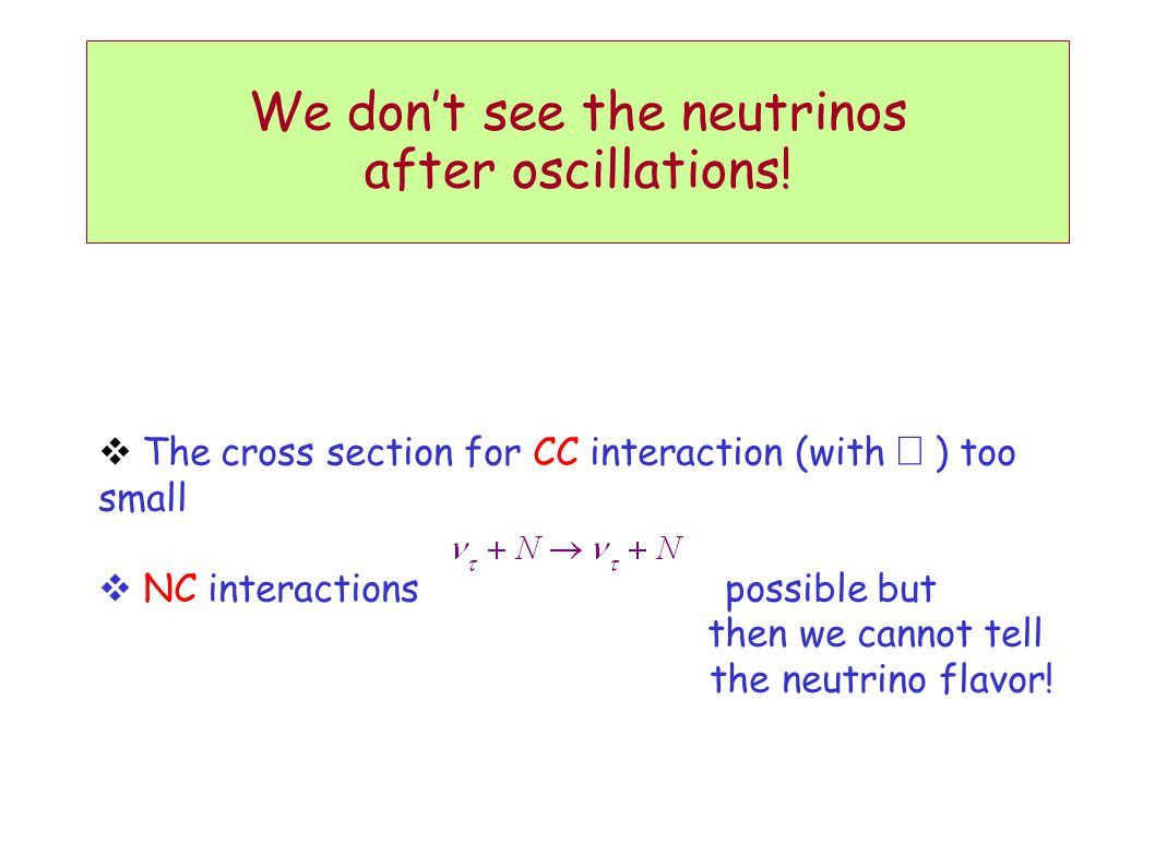 We don't see the neutrinos after oscillations!