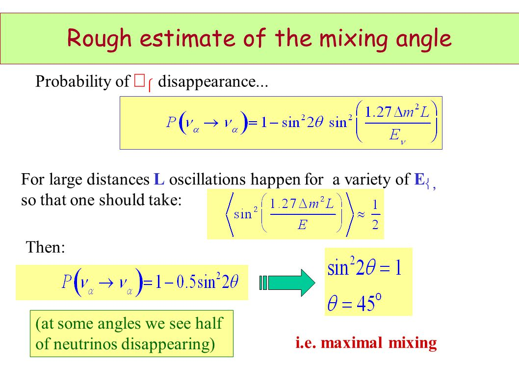 Rough estimate of the mixing angle