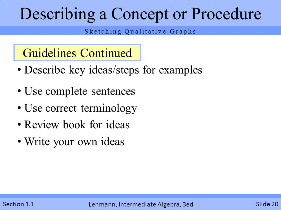Describing a Concept or Procedure