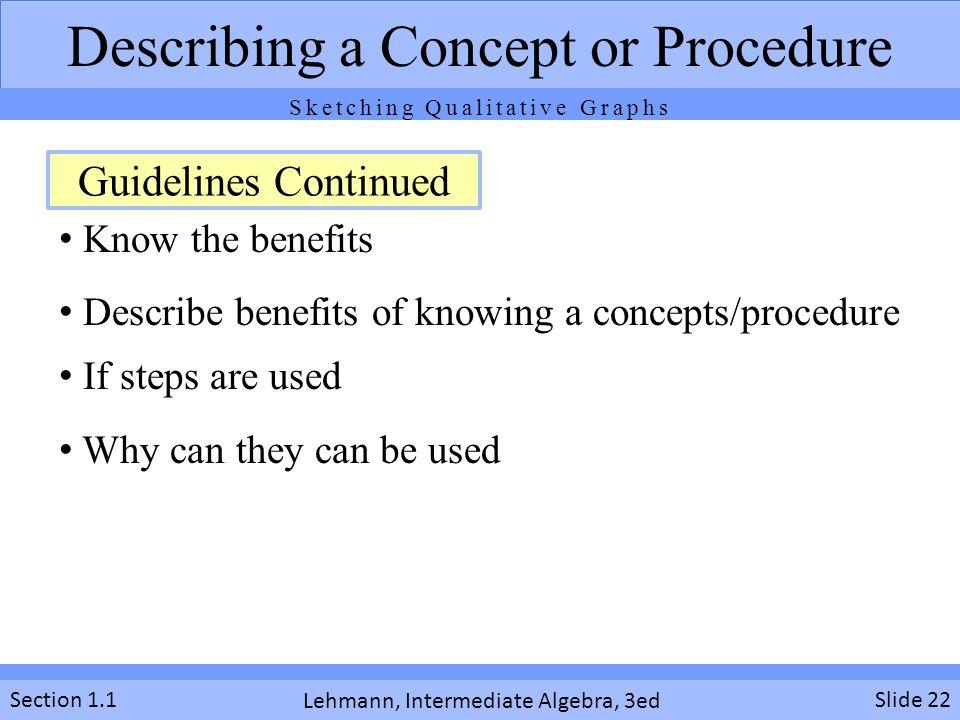 Describing a Concept or Procedure
