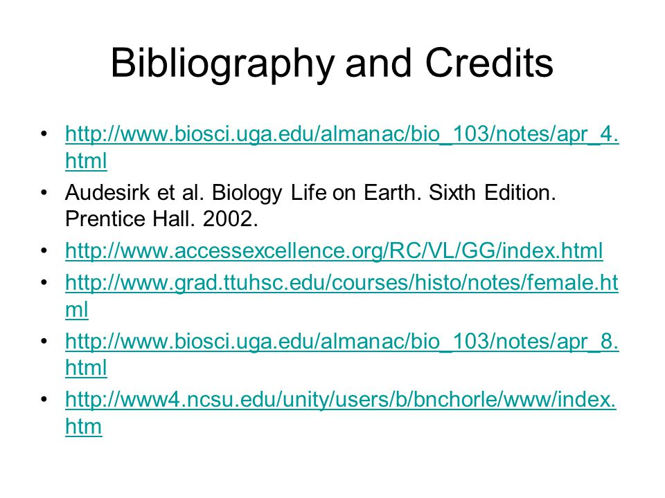 Bibliography and Credits