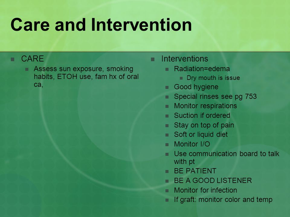 Care and Intervention CARE Interventions
