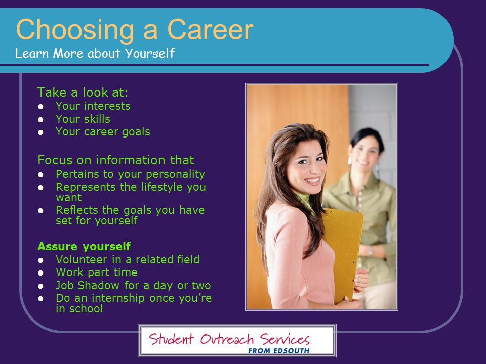 Choosing a Career Learn More about Yourself