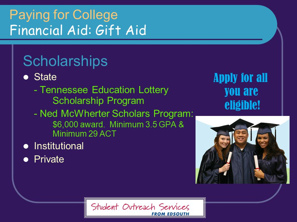 Paying for College Financial Aid: Gift Aid