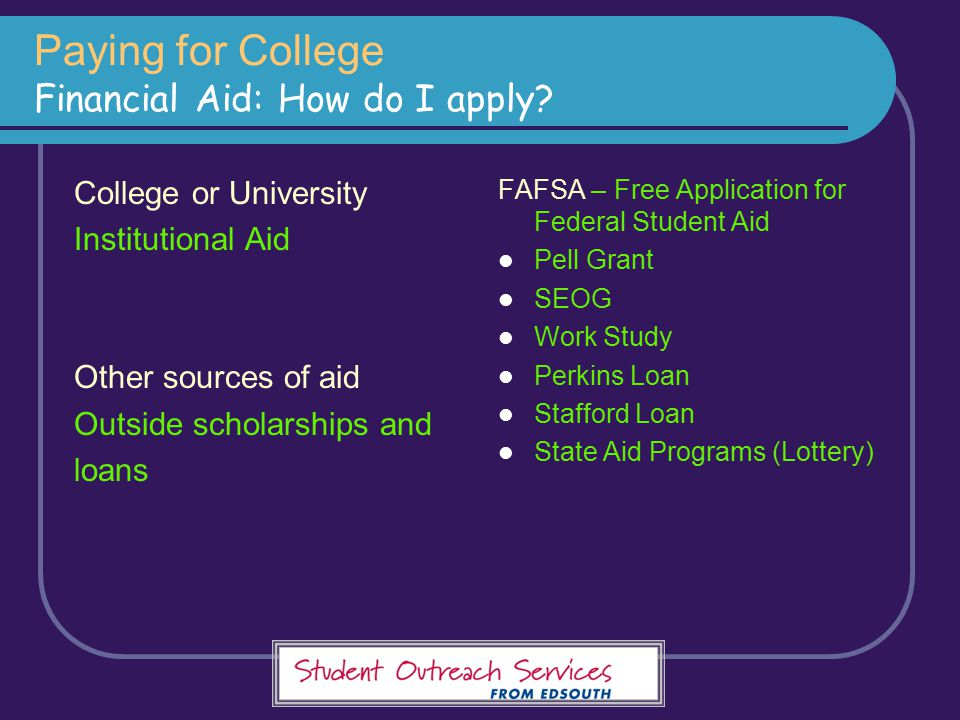Paying for College Financial Aid: How do I apply