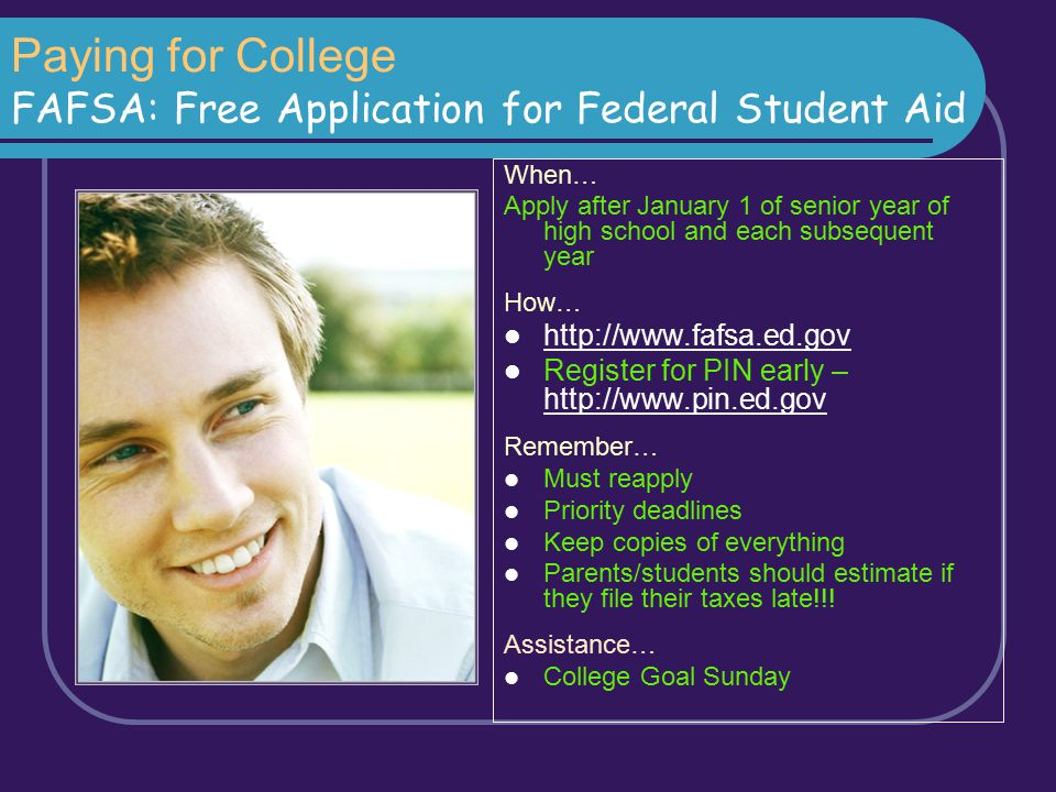 Paying for College FAFSA: Free Application for Federal Student Aid