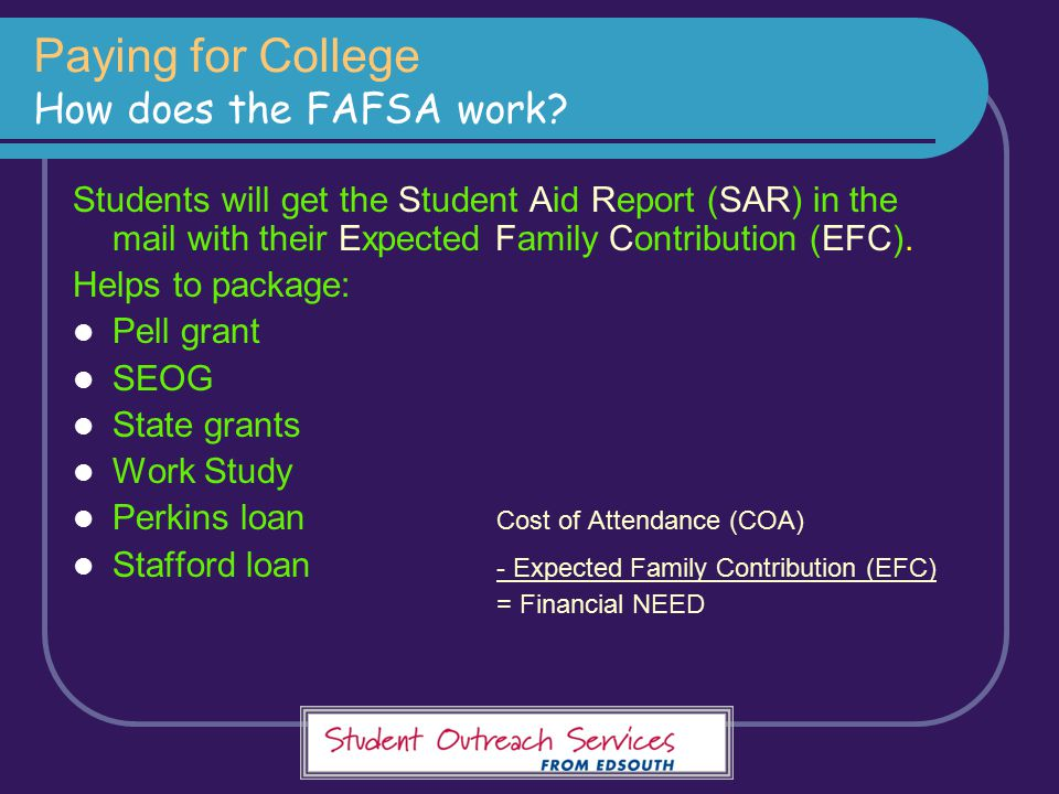 Paying for College How does the FAFSA work