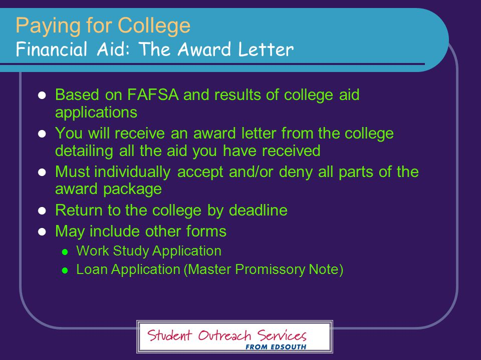 Paying for College Financial Aid: The Award Letter