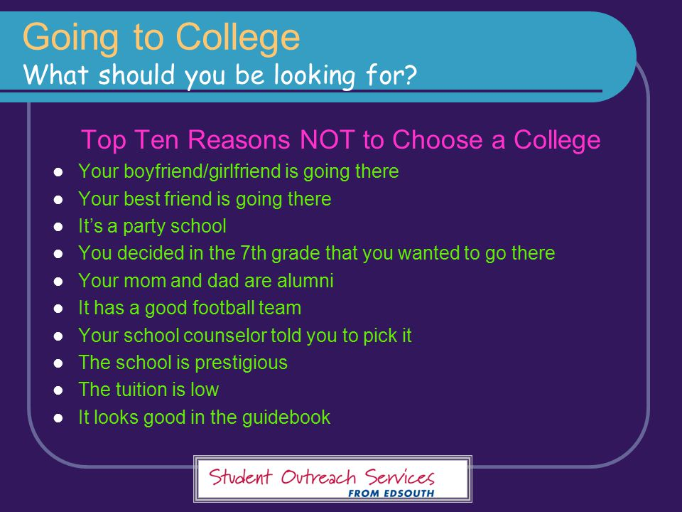 Going to College What should you be looking for
