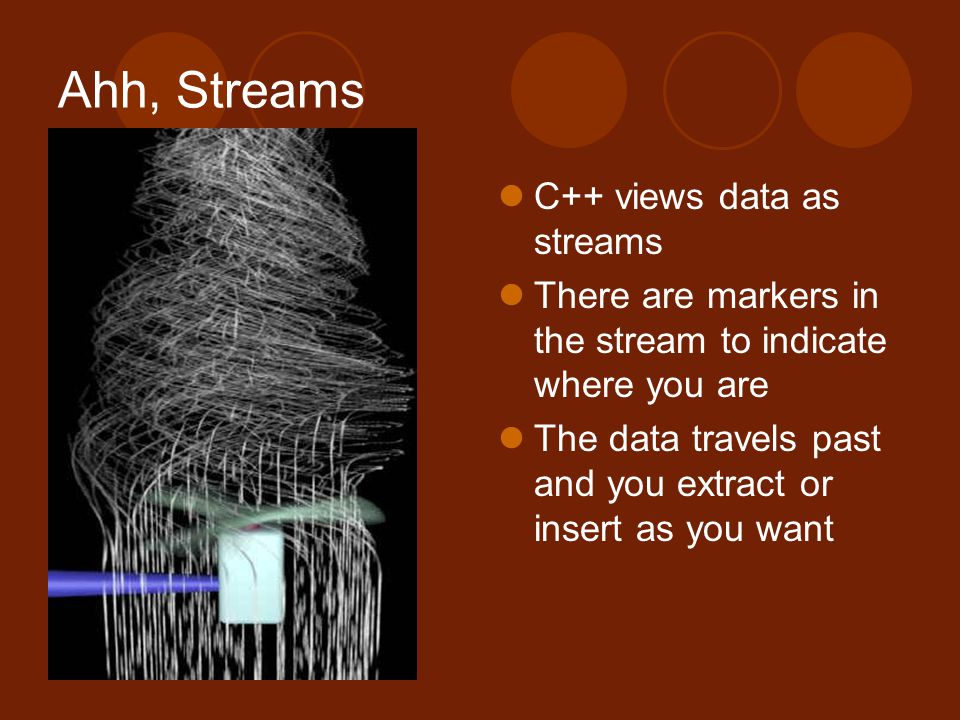 Ahh, Streams C++ views data as streams