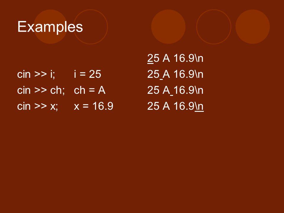 Examples 25 A 16.9\n cin >> i; i = 25 cin >> ch; ch = A