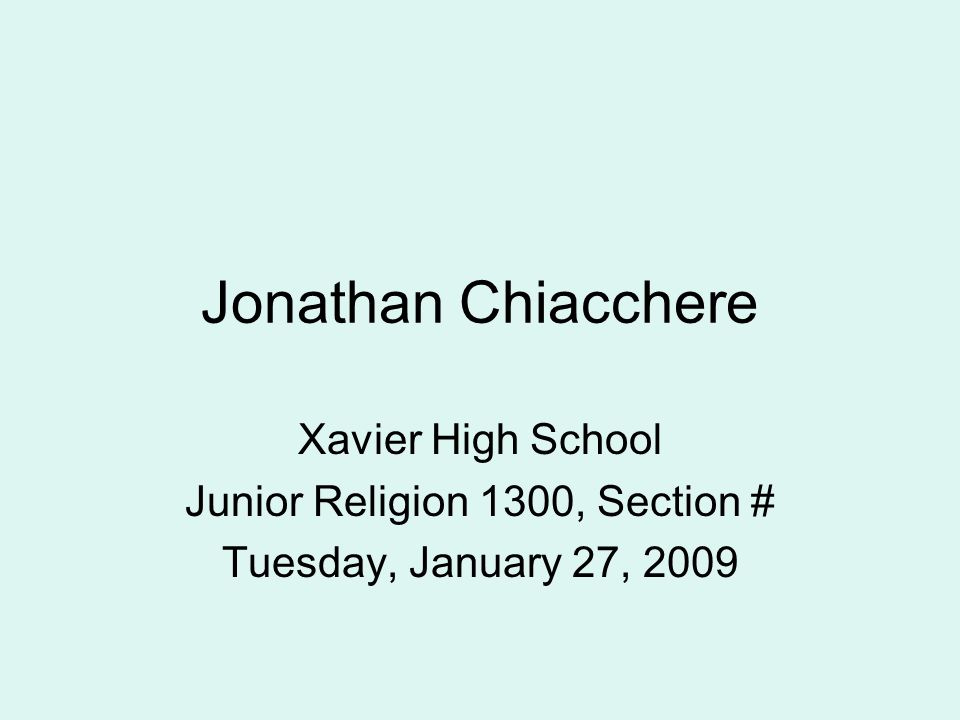 Junior Religion 1300, Section #