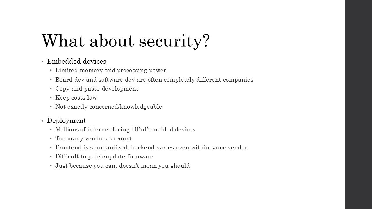 What about security Embedded devices Deployment