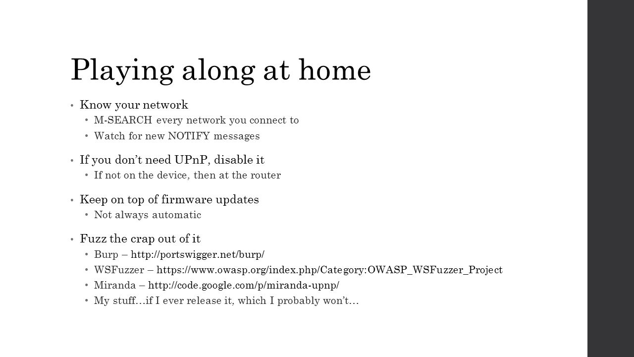 Playing along at home Know your network