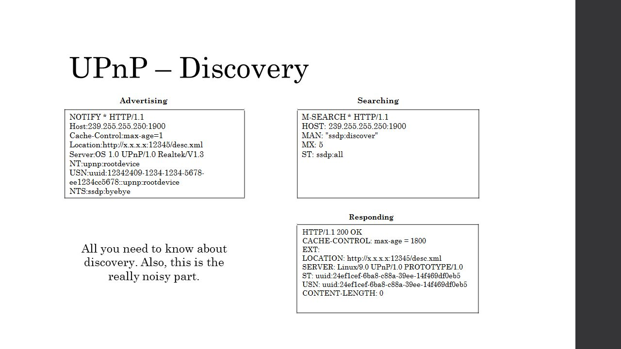 UPnP – Discovery All you need to know about discovery. Also, this is the really noisy part.
