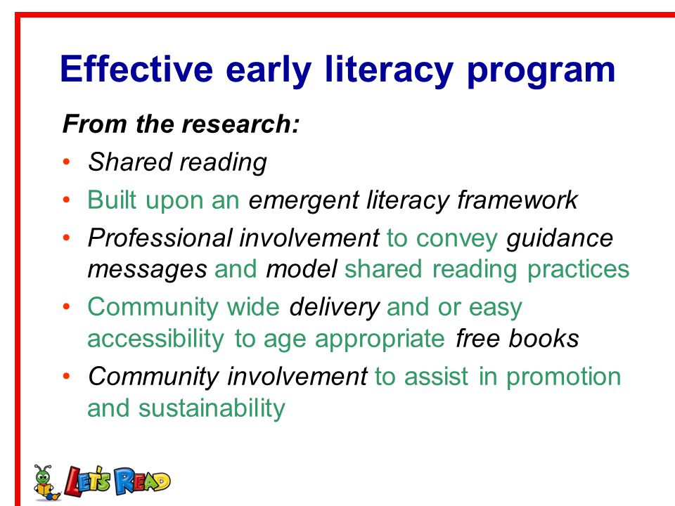 Effective early literacy program