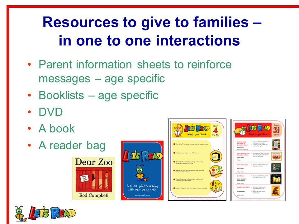 Resources to give to families – in one to one interactions