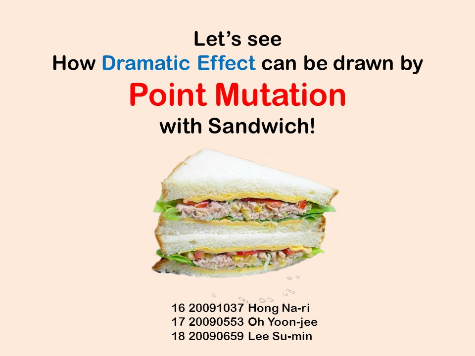 Let's see How Dramatic Effect can be drawn by Point Mutation with Sandwich!